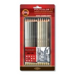 """Spalvoti pieštukai dailei """"POLYCOLOR"""" Koh-I-Noor, 12 pieštukų pilkų atspalvių"""