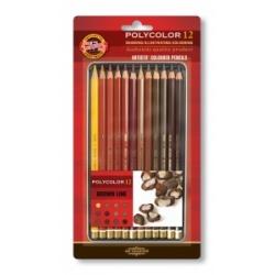 """Spalvoti pieštukai dailei """"POLYCOLOR"""" Koh-I-Noor, 12 pieštukų rudų atspalvių"""