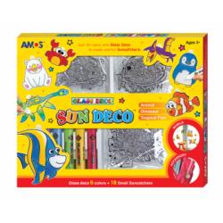 """Dekoratyviniai dažai su pakabukais """"ANIMALS"""" AMOS (18 pakabukų ir 6 dažų)"""