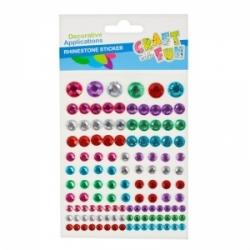 Lipnūs dekoratyviniai kristalai CRAFT-FUN, įvairių spalvų ir dydžių, 120vnt.