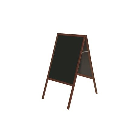 Dvipusė pastatoma kreidinė lenta BI-OFFICE 60x90, 120 cm aukštis, vyšninis rėmas, juoda lenta