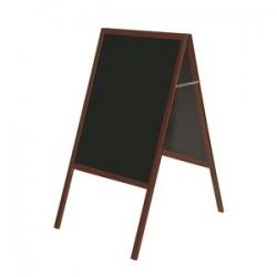 Dvipusė pastatoma kreidinė lenta BI-OFFICE 90x120, 150 cm aukštis, vyšninis rėmas, juoda lenta