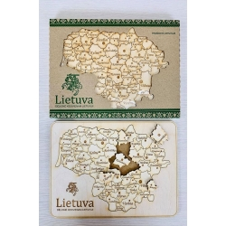 Suvenyrinė medinė dėlionė Lietuva 50det. kartoninėje dėžutėje
