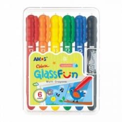 """Šilkinės kreidelės stiklui """"Colorix Glass Fun"""" AMOS, 6 spalvų"""