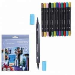 """Akvarelinių markerių rinkinys """"SONET"""" """"Pagrindinės spalvos"""", dvipusiai, 12 spalvų"""
