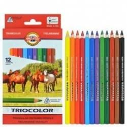 """""""Triocolor JUMBO"""" stori 3-jų ribų spalvoti pieštukai Koh-I-Noor, 12 sp."""