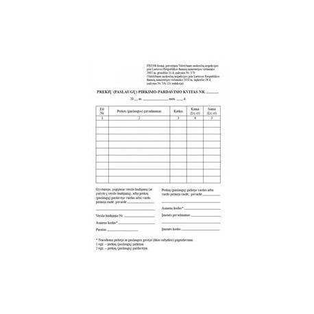 Prekių (paslaugų) pirkimo-pardavimo kvitas be numeracijos A6