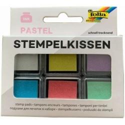 Antspaudų dažų pagalvėlių rinkinys PASTEL, FOLIA, 6 spalvų