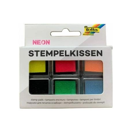 Antspaudų dažų pagalvėlių rinkinys NEON, FOLIA, 6 spalvų