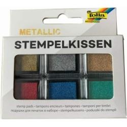 Antspaudų dažų pagalvėlių rinkinys METALLIC, FOLIA, 6 spalvų