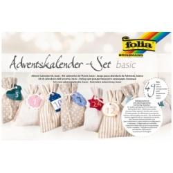 """Kalėdinis rinkinys """"Adventų kalendoris"""" FOLIA, 24 lininių maišelių ir 24 lipdukų"""