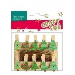 """Kalėdiniai mediniai segtukai """"Eglutės"""" CRAFT-FUN, 10 vnt."""