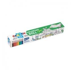 Spalvoti pieštukai, 8 vnt., CARIOCA Jungle ir spalvinimo ritinėlis, 200 x 30 cm