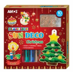 """Dekoratyviniai dažai su pakabukais """" CHRISTMAS"""" AMOS (12 pakabukų ir 10 dažų)"""