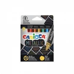 Tribriaunės vaškinės kreidelės METALLIC MAXI CARIOCA, 8 spalvų