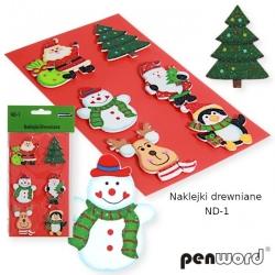 Dekoracija rankdarbiams Kalėdiniai mediniai lipdukai 6vnt.