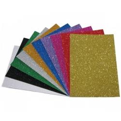 Kartonas gofruotas A4 10 spalvų bizgantis