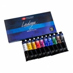 Akrilinių dažų rinkinys LADOGA 10 sp. po 46 ml.