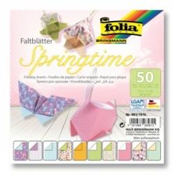 """Origami """"SPRINGTIME"""" 50 lapų 15*15 FOLIA, įvairūs motyvai"""