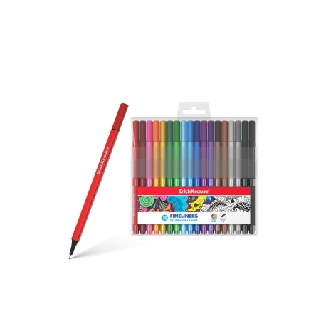 """Spalvoti rašikliai piešimui """"Fineliners"""" ErichKrause® 18 spalvų"""