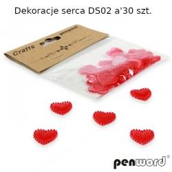 Dekoracija rankdarbiams Širdelės (plastikas) raudonos 30vnt. 14x10mm