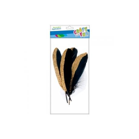 Dekorativinės juodos plunksnos su blizgučiais, 4vnt. CRAFT-FUN